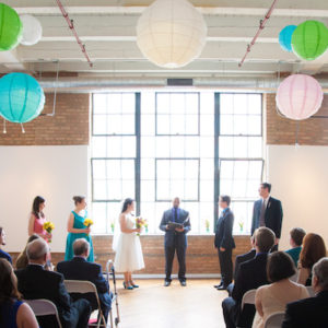 Wedding Ceremony in Brick City Loft with Colorful Paper Lanterns