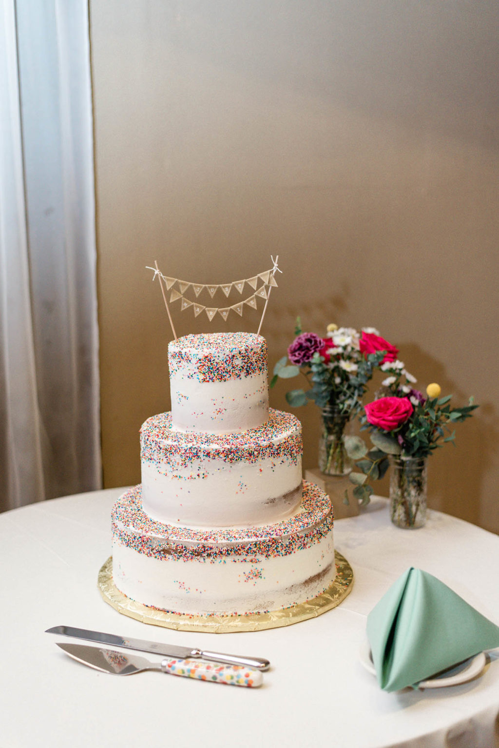 Wedding cake with rainbow sprinkles