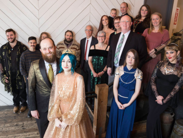Couple with Piercings and Blue Hair and Wedding Party at Union Pine PDX