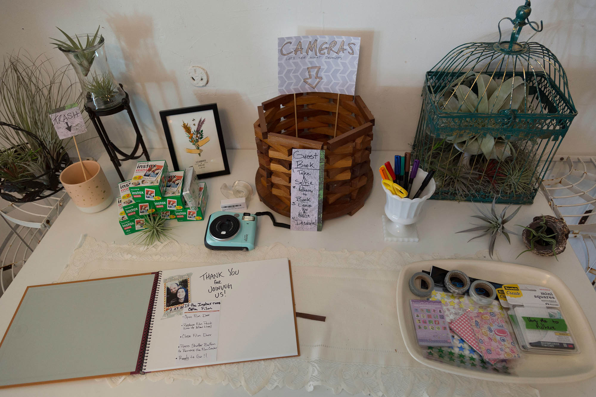 Guest Book Table Decor with Air Plants Birdcage and Polaroid Instax Camera