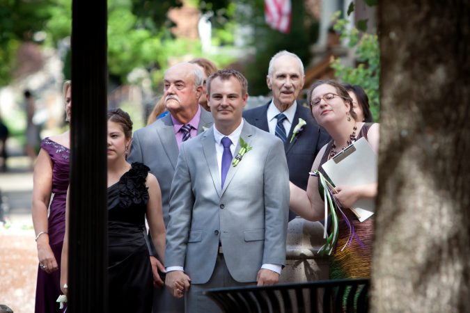 That's me, cueing groom Travis' entrance to his wedding ceremony. Photo © Studio Verite.