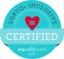 We are proudly certified through Equally Wed's Inclusive Professional program. To learn how to best serve the LGBTQ+ community and get your own CIP credential, click here. (This affiliate link will provide a small commission to us when you enroll; this supports our ongoing unpaid efforts to educate our colleagues in the wedding industry on LGBTQ+ issues.)