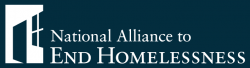 5% of Aisle Less Traveled's December 2017 sales will be donated to the National Alliance to End Homelessness. NAEH logo in white text on dark blue background.